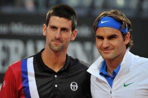 Swiss Roger Federer (R) and Serbia's Nov